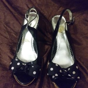 Rampage black heels with polka dot bow